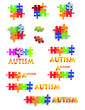 Bright rainbow of Autism puzzle pieces