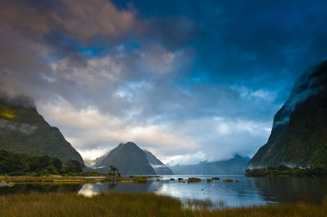 Cloudy morning at milford sound at sunrise