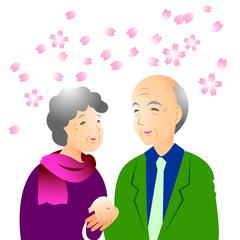 老夫婦 春の旅行