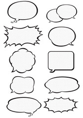 comic speech bubbles dot black