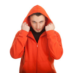 young man in orange sweatshirt and hood, series