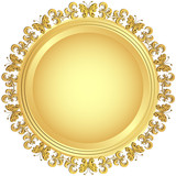 Golden plate with ornament