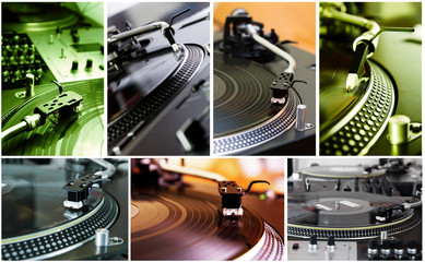 Collage of turntables playing vinyl records