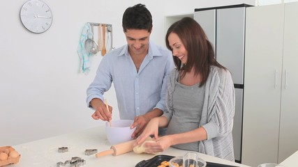 Beautiful couple cooking together