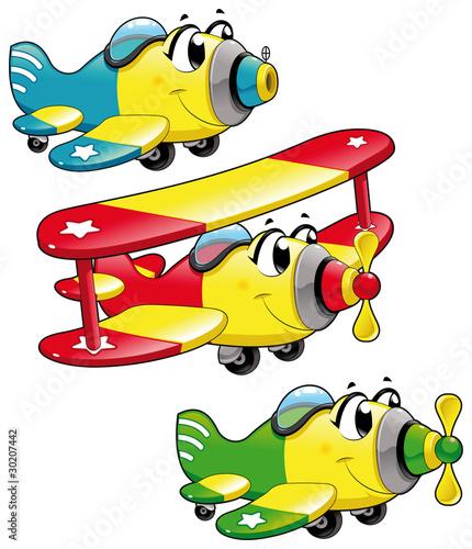 Samoloty kreskówek. Zabawna wektor znaków, wyizolowane obiekty