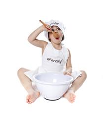 Cuisinier enfant bébé chef cuisine manger gourmand patissier
