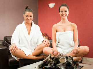 Women relaxing spa