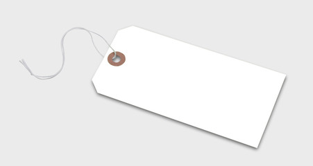 Price tag or address label in white with string, isolated