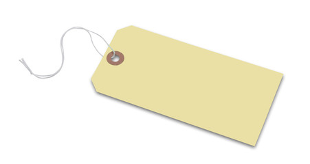 Price tag or address label in yellow with string, isolated