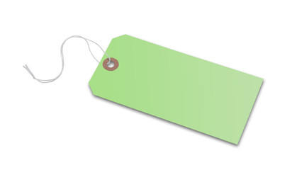 Price tag or address label in green with string, isolated