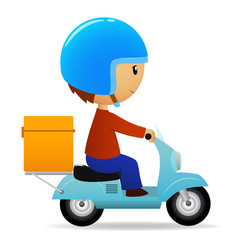 Delivery cartoon scooter with big orange box