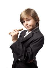 enfant cigare gentlemen fumer santé grand petit costume busines