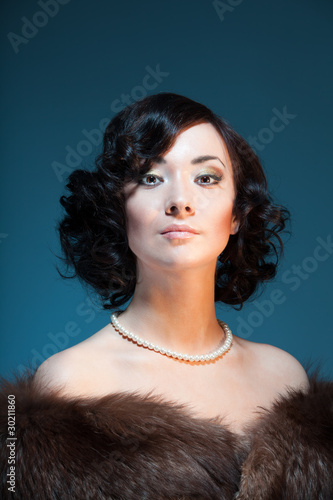 Retro style color portrait of a woman
