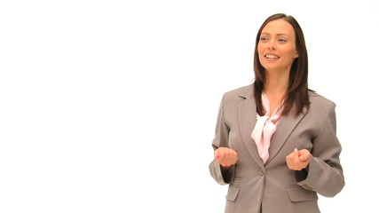 Businesswoman talking against a white background