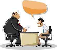 Cartoon człowiek rozmawia ze swoim szefem w biurze. Dymka.