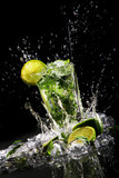 Fototapety Fresh drink with green lime