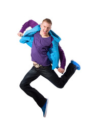 Breakdancer in action on white background
