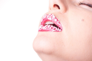 Female lips with coconut shaving