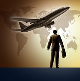 Business travel symbol represented by an airplane taking off poster