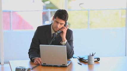 Businessman taking a phone call
