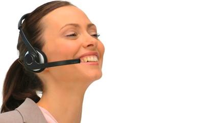 Business woman using an headset