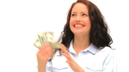 Brunette showing off her cash