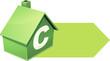 Maison verte de classe C et sa flèche (détouré)