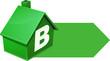 Maison verte de classe B et sa flèche (détouré)