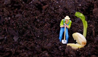 Miniature gardener  working