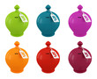 set of multicolored moneybox