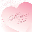 Wedding card with pink heart and lettering.
