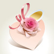 Wedding card in the form of heart with rose and pink ribbon.