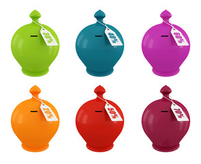 set of multicolored moneybox