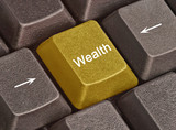 Keyboard with key for  wealth poster