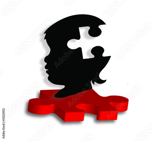 Child's silhouette on puzzle piece LG