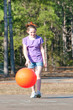 girl playing ball