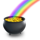 Pot of gold with a rainbow
