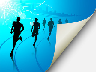 Group of runners on a blue cityscape background, with the page f