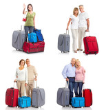 people travelers with bags. Isolated over white background.