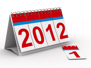 2012 year calendar on white backgroung. Isolated 3D image