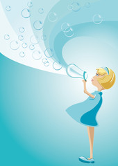 Background Illustration Girl with Bubbles