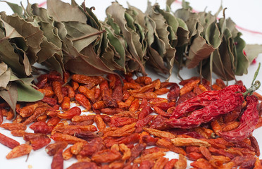 Hot pepper and dry bay leaf