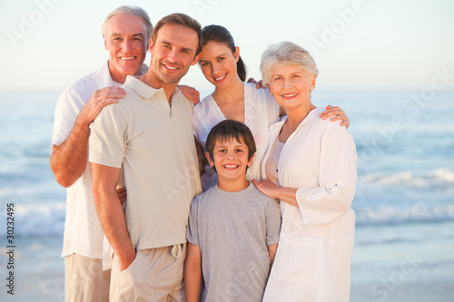 Portrait of a smiling family at the beach
