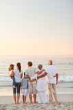 Fototapety Beautiful family at the beach
