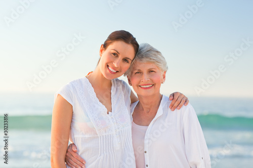 Smiling daughter with her mother