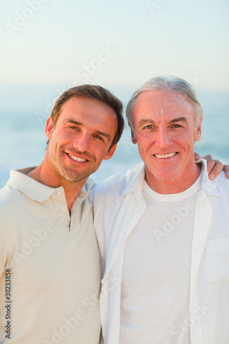 Father with his son at the beach