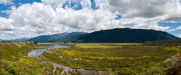 Panorama of Waiau river wetland South New Zealand