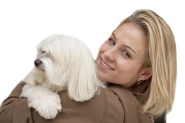 Woman with maltese dog