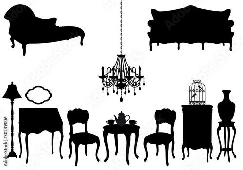 antique furniture, vector - 30239009