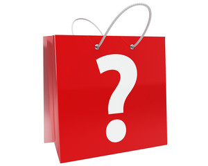 shopping bag with white question mark isolated